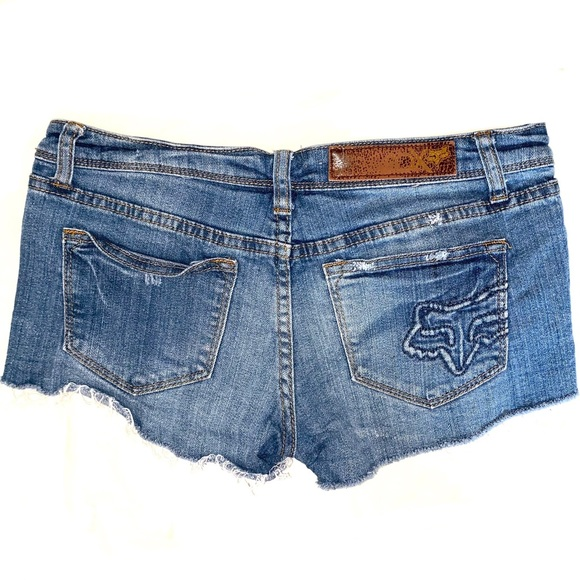 Fox Pants - FOX Distressed Low Rise Booty Jean Shorts Size 25